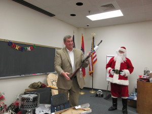 Santa warned Chief Woody to stay away from his reindeer with his new gift!